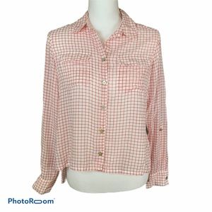Foxcroft Tencel Lyocell Window Pane Hi Lo Blouse